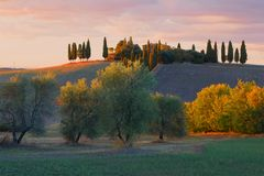 September sunset in the vicinity of the city of San Quirico d`Orcia. Tuscany, Italy. September sunset in the vicinity of the city of San Quirico d`Orcia. Tuscany Stock Image