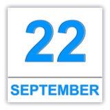 22. September Tag auf dem Kalender Lizenzfreie Stockfotos