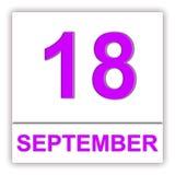 18. September Tag auf dem Kalender Stockbild