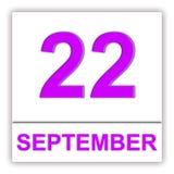 22. September Tag auf dem Kalender Stockbild