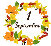 September 1 text on the background of leaves. Vector Royalty Free Stock Image