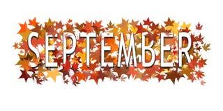 September text, ord som slås in i och varvas med höstliga sidor bakgrund isolerad white royaltyfri foto