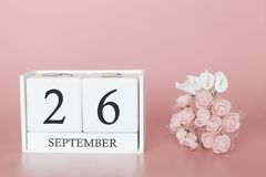 September 26th. Day 26 of month. Calendar cube on modern pink background, concept of bussines and an importent event stock photography