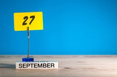 September 27th. Day 27 of month, Calendar on teacher or student, pupil table with empty space for text, copy space.  Stock Photos