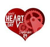 September 29th för världshjärtadag illustration Mekanism i en hjärta Shape stock illustrationer