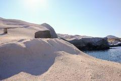 2018 September 14th. Milos, Greece. Sarakiniko beach. The last t royalty free stock photo