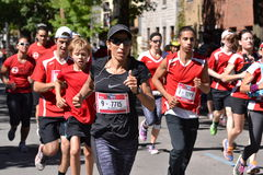 September 20th, 2015 - Montreal, Canada. Marathon de Montreal at the streets and the finish closeup stock images