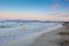 September 6th, 2015, Playa de Muro Beach, Alcudia, Mallorca, Spain. Beautiful six kilometres long Blue Flag, white sandy beach in the north of Mallorca Royalty Free Stock Photography