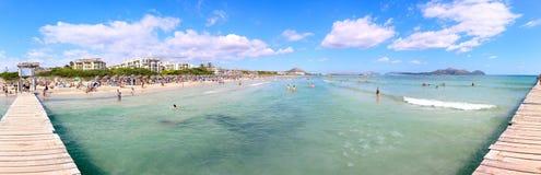 September 6th, 2015, Playa de Muro Beach, Alcudia, Mallorca, Spain. Beautiful six kilometres long Blue Flag, white sandy beach in the north of Mallorca Stock Photo