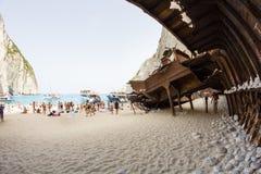 September, 7th, 2015, Zakynthos, Greece. Navaggio beach view Royalty Free Stock Image