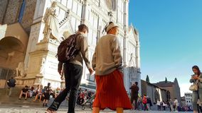 26 September 2018: Time-lapse of people in the square of Basilica of the Holy Cross Basilica di Santa Croce stock video footage