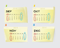 September to December Calendar 2014 Royalty Free Stock Photo