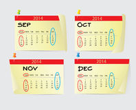 September to December Calendar 2014 Stock Image