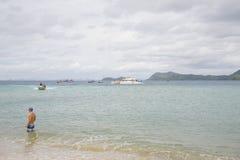 17. September 2014 - touristisches Schiff holte Touristen zum uninha Stockbilder