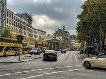 Sightseeing buses near Brandenburg Gate, Berlin, Germany. September 2017: Traffic and sightseeing buses near the Brandenburg Tor Gate, Berlin, Germany stock images