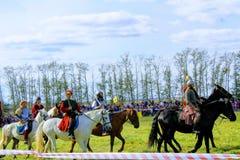 16 september, 2017, Tula, Rusland - het Internationale Militaire en Historische Festival` Kulikovo Gebied `: kijkers en deelnemer Royalty-vrije Stock Foto