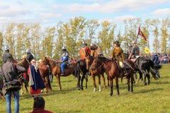 16 september, 2017, Tula, Rusland - het Internationale Militaire en Historische Festival` Kulikovo Gebied `: kijkers en deelnemer Royalty-vrije Stock Afbeeldingen