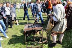 September, 16 2017, Tula, Russia - The International Military and Historical Festival `Kulikovo Field`: old russian blacksmith royalty free stock photos