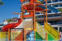 September 20, 2016. Turkey. Antalya  Children`s pool, water park. Royalty Free Stock Photo