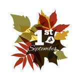 1 of September Typographical Background. Autumn background with leaves. Fall set Royalty Free Stock Images
