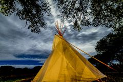 SEPTEMBER 26, 2018 - UTE INDIAN MUSEUM, MONTROSE, COLORADO, USA - Moonlight on Indian Tepee at Ute Indian Museum, Montrose, stock photos