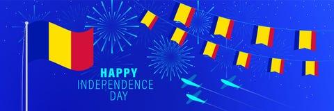 8 september van de de Onafhankelijkheidsdag van Andorra de groetkaart Vieringsachtergrond met vuurwerk, vlaggen, vlaggestok en te vector illustratie