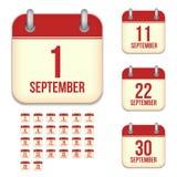 September vector calendar icons Stock Image