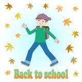 September. Vector illustration. On September Boy goes to School. Autumn. Falling Leaves Stock Photography