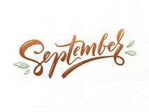 September vector typography illustration for greeting card, calendar, magazine, invitation, banner, poster. Autumn graphic design stock illustration