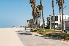 Bike Path and Beach Homes at Venice Beach in Southern California Stock Photo