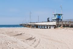 Lifeguard Tower on Venice Beach Fishing Pier in Southern California Royalty Free Stock Photo