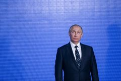 Speech by the President of the Russian Federation Vladimir Putin in the Primorsky Oceanarium. As part of the Eastern Economic Forum in 2017 on the Russian stock photography