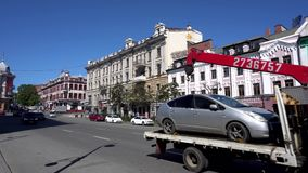 The road of the main street of Vladivostok - Svetlanskaya stock footage