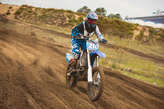 24 september 2016 - Volgsk, Russia, MX moto cross racing - Girl Bike Rider rides on a motorcycle Stock Images
