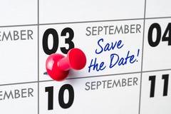September 03. Wall calendar with a red pin - September 03 Stock Photos