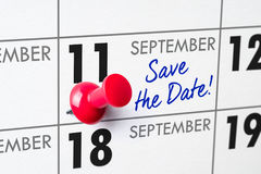 September 11. Wall calendar with a red pin - September 11 Royalty Free Stock Image