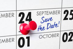 September 24. Wall calendar with a red pin - September 24 royalty free stock photography