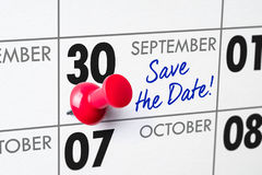 September 30. Wall calendar with a red pin - September 30 Stock Photography