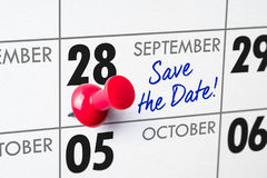 September 28. Wall calendar with a red pin - September 28 Stock Photography