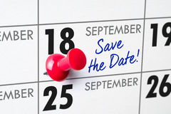 September 18. Wall calendar with a red pin - September 18 stock photos