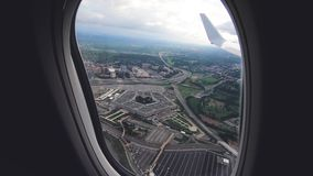 View of the Pentagon from the airplane stock video footage