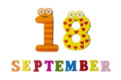 September 18 on white background, letters and numbers. Calendar stock photography