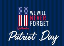11 September, We will never forget poster for Patriot day USA. Patriot Day, Never forget 9.11, vector banner royalty free illustration
