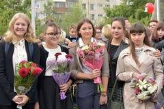 1. September Wissens-Tag in der russischen Schule Lizenzfreie Stockfotos