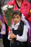 1. September Wissens-Tag in der russischen Schule Tag des Wissens Erster Tag der Schule Stockbild