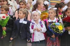 1. September Wissens-Tag in der russischen Schule Tag des Wissens Erster Tag der Schule Lizenzfreies Stockbild