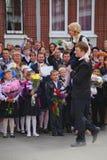 1. September Wissens-Tag in der russischen Schule Tag des Wissens Erster Tag der Schule Lizenzfreies Stockfoto