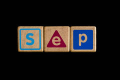 September on wood Cubic on black background Royalty Free Stock Image