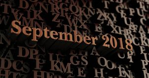 September 2018 - Wooden 3D rendered letters/message Royalty Free Stock Photo