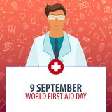9 September. World First Aid day. Medical holiday. Vector medicine illustration. Royalty Free Stock Photography